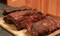Smoked ribs via the 3-2-1 method.